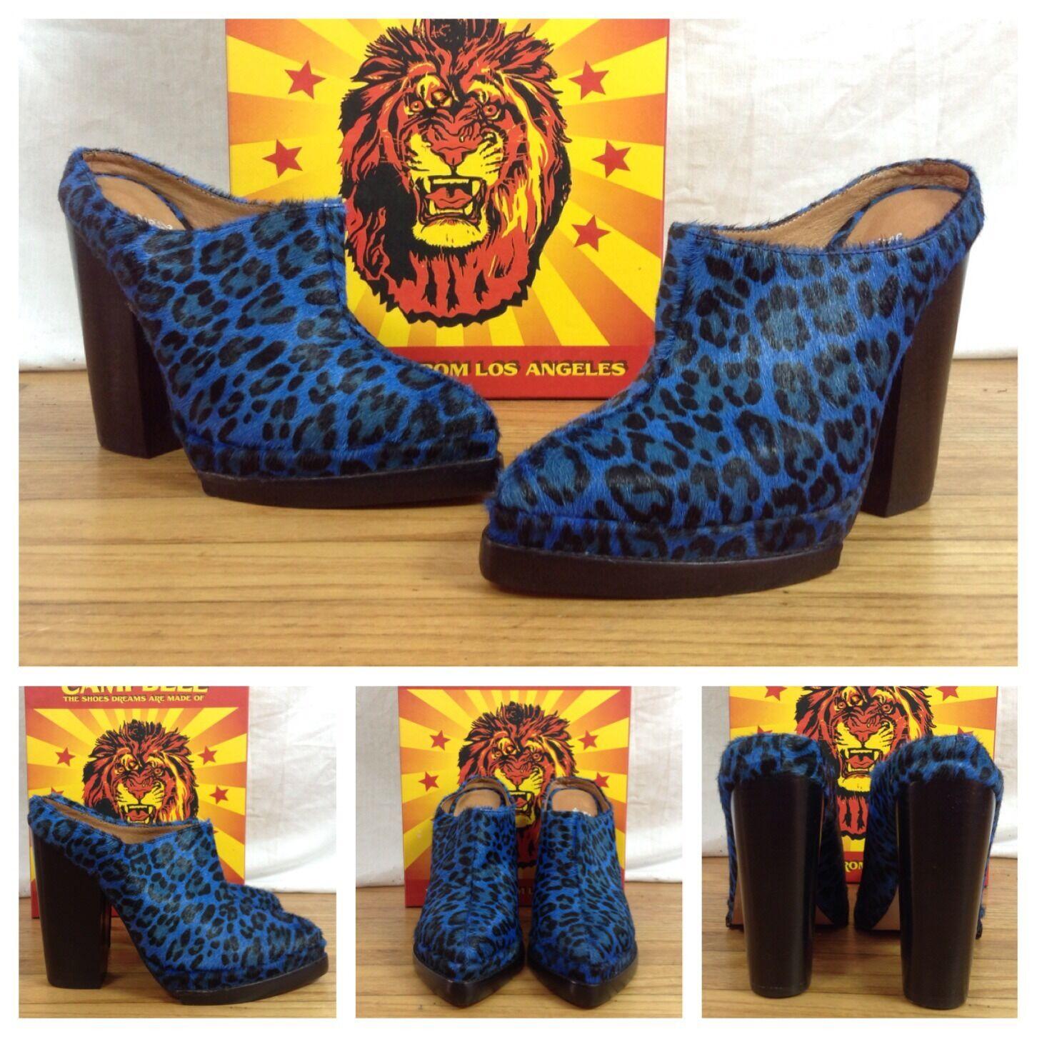 Jeffrey Cambell Nwb Sexy Electric Blau Cheetah Leather Calf Hair Heels Stiefel 7.5