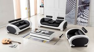 3 PC Modern Black with White Leather Sofa Loveseat Chair Living Room ...