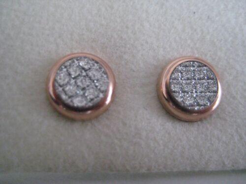 Brillo del oro Stud Pendientes 9 CT Oro Rosa Moondust