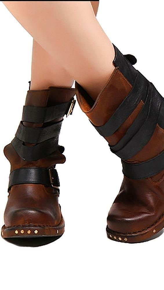 Jeffrey Campbell reds Wrap Strap Two Tone Biker Boots Boots Boots Distressed Leather NIB d7cfd5