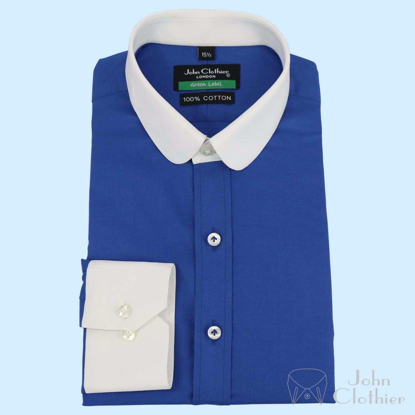 Herren Penny Kragen Hemd Baumwolle Blau Rund Oxford Bankier Club Sommerhemd