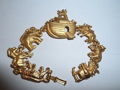 Vintage Yellow Gold Tone Noah/'s Ark Charm Link Bracelet 1980/'s 29.1 Grams by AJC