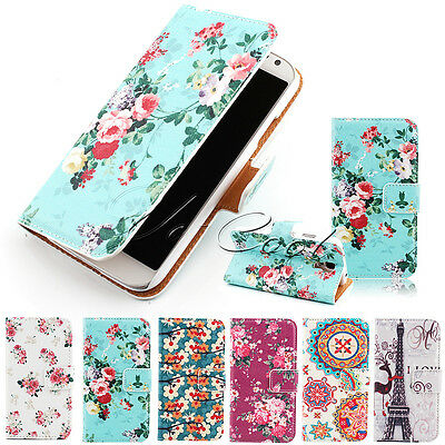 VINTAGE FLORAL WALLET CARD PU LEATHER STAND FLIP CASE COVER FOR SAMSUNG MODELS