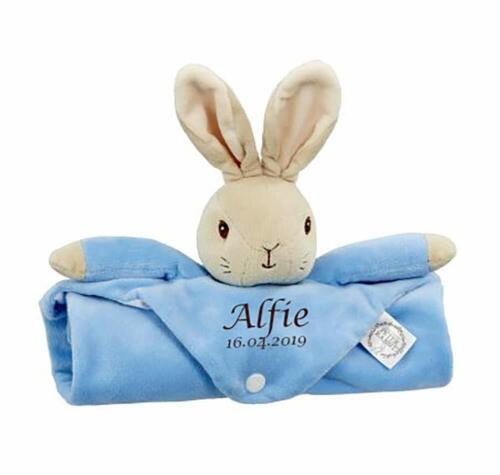 Hoolaroo Personalised Embroidered Blue Peter Rabbit Large Comforter Soft Baby