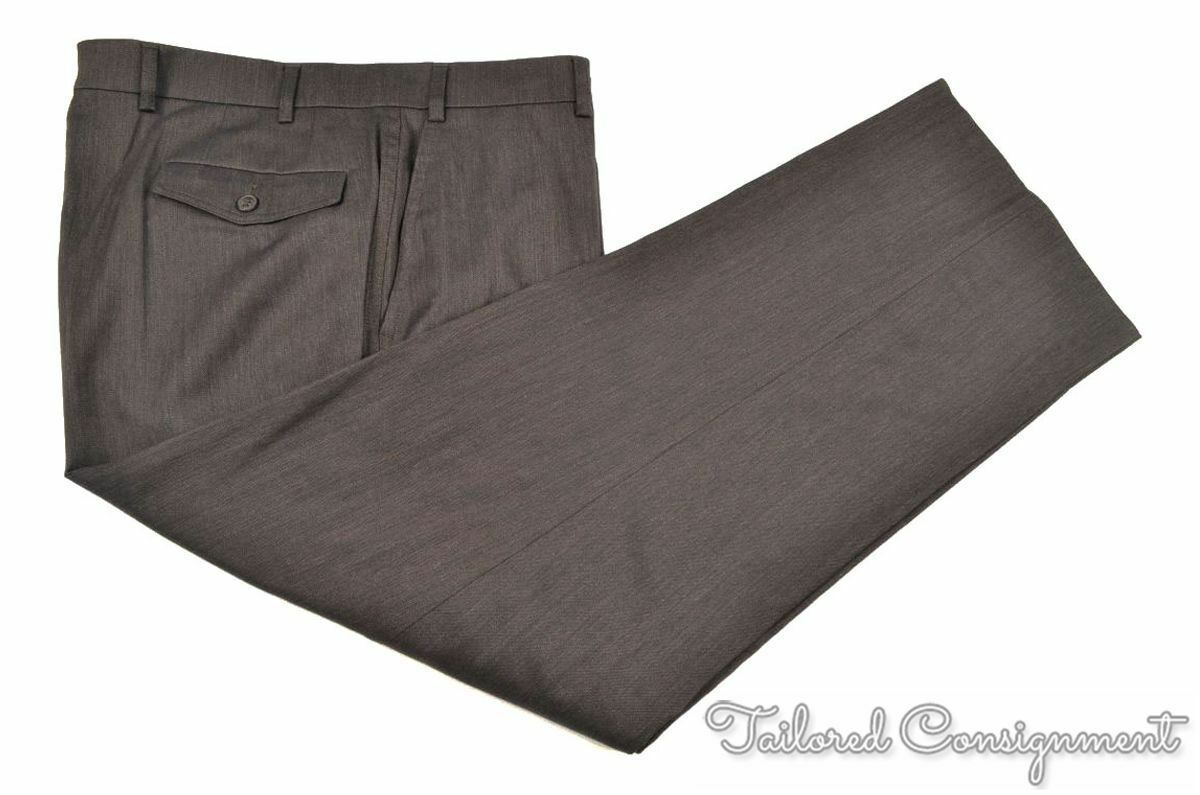 HILTL Solid Brown Wool Cotton Mens FLAT FRONT Luxury Pants Trousers - 36