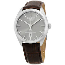 Tissot PR 100 Grey Dial Leather Strap Automatic Men's Watch T1014071607100