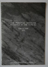 Livre EO URS LÜTHI The Personal Dissolves So Easyly in The Typical 1977