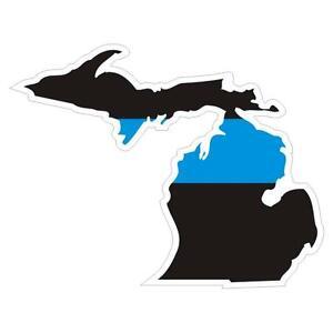 Michigan-MI-State-Thin-Blue-Line-Police-Sticker-Decal-145-Made-in-U-S-A