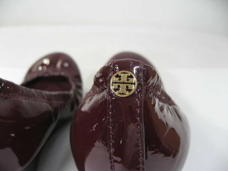 TORY BURCH BURCH BURCH Eddie Mid Heel Bordeaux Patent Leather Wedge Pump Size 6 M shoes 85b0a1