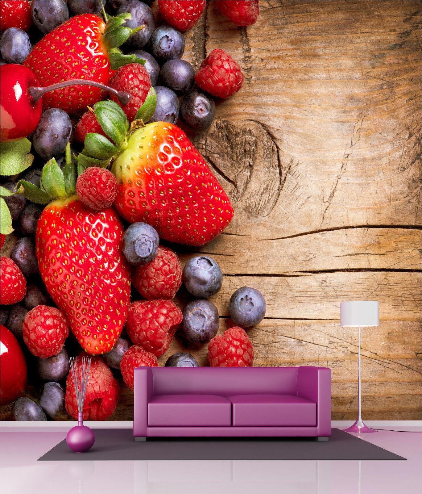 Papier Lackiert Riesig Wanddekor Frucht Erdbeere Ref 4504