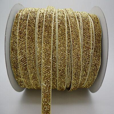 "NEW DIY 3/8""10mm Sparkle Glitter Velvet Ribbon Headband Clips Bow Decoration"