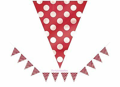Red Spotty Flag Banner / Bunting  - 12ft - Party Decoration