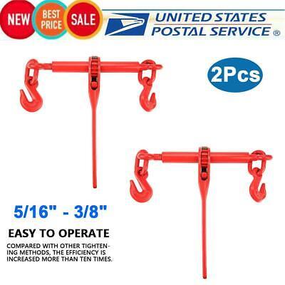 Load Binder Ratchet Load Lever Binder 5//16-3//8 Chain Hook Tie Down Rigging Equipment 2Pcs