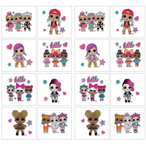 16 LOL surprise Tatouages temporaires anniversaire Party Favors Fournitures ~ 2 feuilles poupées
