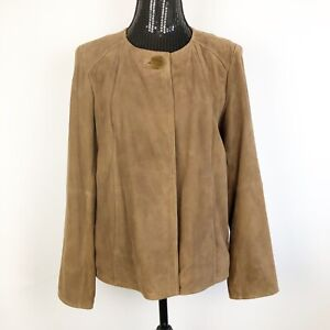 TALBOTS-Leather-Jacket-Size-8-Chocolate-Brown-Genuine-Suede-One-Button-2-pockets
