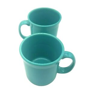 Fiesta 2 Tapered Mugs Turquoise Large Coffee Cups 15 oz. Fiestaware Lot of 2