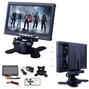 7-034-Car-TFT-LCD-AV-Monitor-HD-Screen-Remote-2-Way-Video-Input-DC-12V-Home-Office