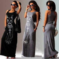 Womens Cat Print Sleeveless Long Maxi Dress Ladies Summer Beach Sundress UK 6-20