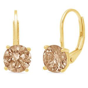 1-CT-Diamante-Redondo-champana-simulante-Gota-Colgantes-Pendientes-de-Oro-Amarillo-14k