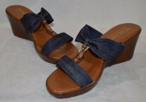Sizes 8//9.5//10 NWB Italian Shoemakers Women/'s Lori Dark Denim Wedge Sandal