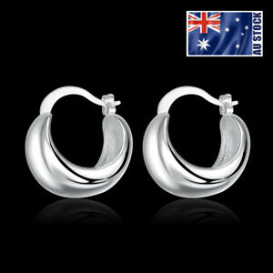 925-Sterling-Silver-Filled-Gorgeous-High-Polished-Ladies-Hoop-Dangle-Earrings