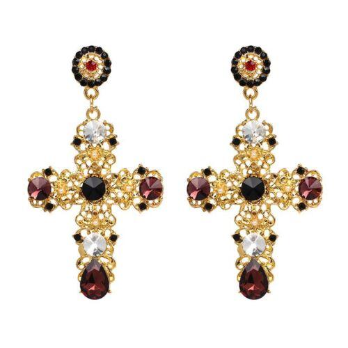 New Fashion Big Vintage Crystal Cross Pendants d/'oreilles Pour Femmes Fête Bijoux Cadeau