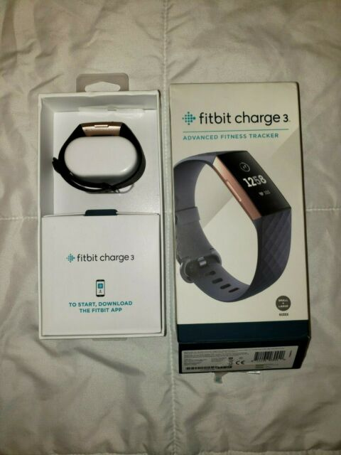 FITBIT CHARGE 3 FITNESS TRACKER SMALL AND LARGE BANDS BLUE GREY//ROSE GOLD RF3498