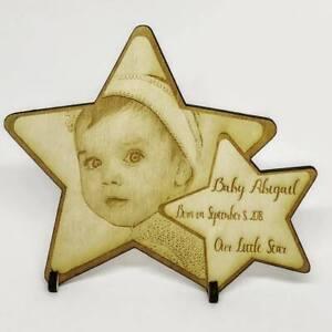Personalised-Wooden-Photo-Plaque-Baby-Gift-Mother-039-s-Day