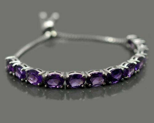 Details about  /8x6 mm Oval Cut Natural Amethyst Gemstone 925 Sterling Silver Chain Bracelet