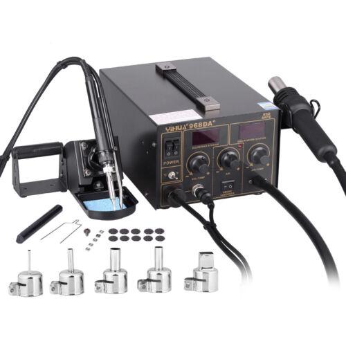 Soldering Iron Station Rework Kit Hot Air Gun Digital LED Welder YIHUA 968DA