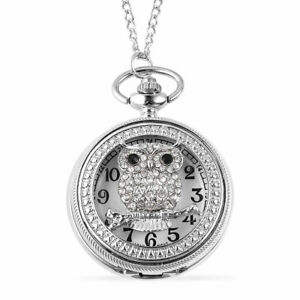 STRADA-Black-Crystal-Japanese-Movement-Owl-Pattern-Pocket-Watch-Chain-Silvertone