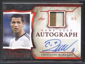 Cristiano Ronaldo 2020 Leaf ITGU Autograph Red Foil Game Used Jersey Patch 3/3