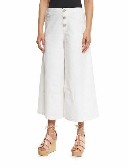 See By Chloe White Lily Button-Front Culottes Wide Leg Cropped Pant 38
