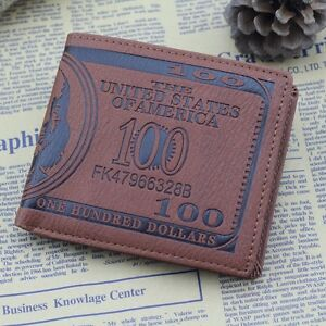 Men US Dollar Bill Wallet Bifold PU Leather Credit Card Photo Holder Purse SI