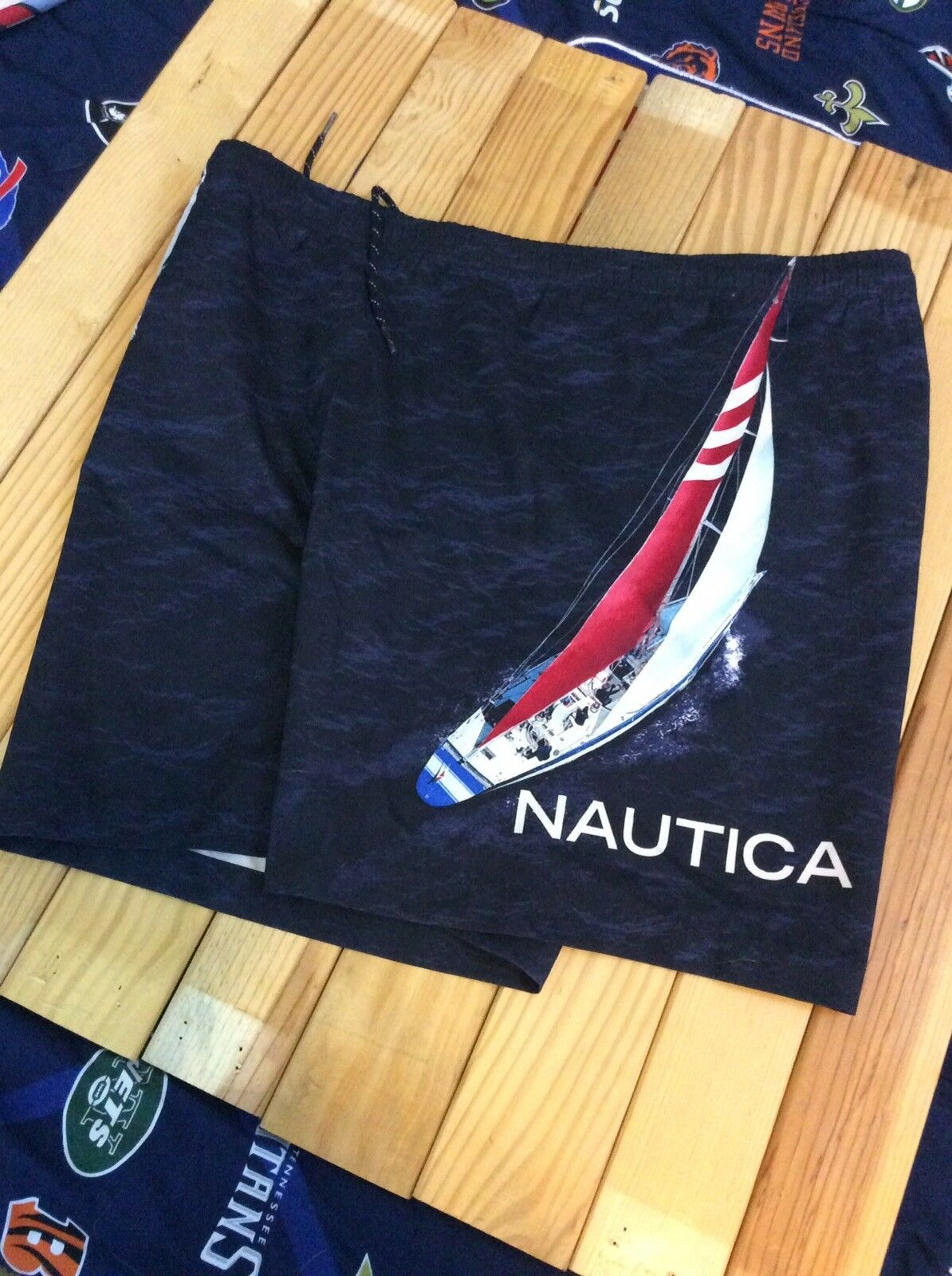 195a2d942f Nautica Swim Trunks Shorts Adult Large bluee Spell Out Shorts 90s Baggie  VINTAGE ooewxt3643-Swimwear