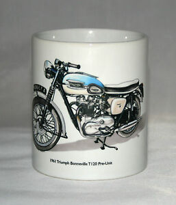 Motorbike Mug. Triumph Bonneville T120 Pre-Unit 1961 illustration.