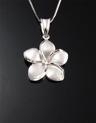 14K Solid or Blanc Hawaiian Plumeria Fleur Pendentif Croix Charm