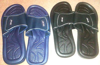 Para hombre Gimnasio de ducha de Playa Mula Flip Flop Sandalias Negro y Azul Marino Tallas 6 -11 Nuevo
