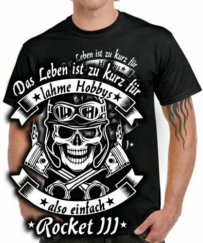 Biker T-SHIRT LEBEN HOBBY ROCKET III 3 Tuning Zubehör Motorrad Spruch Skull