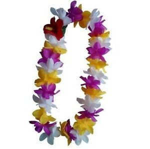 Six hawaii silk flower lei luau party hula wedding purpleyellow image is loading six hawaii silk flower lei luau party hula mightylinksfo