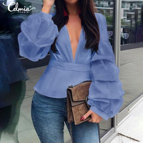 Damen V Neck Puffärmel Tunika Shirts Tops Plain Slim Fit Party Club Bluse Tops