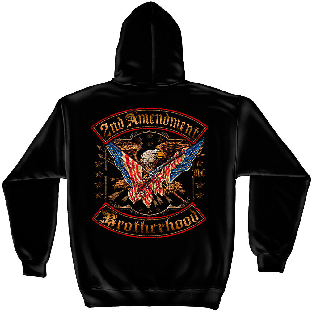2nd Amendment BROTHERHOOD Gun Eagle American Flag Foil Hoodie Sweatshirt S- 3XL