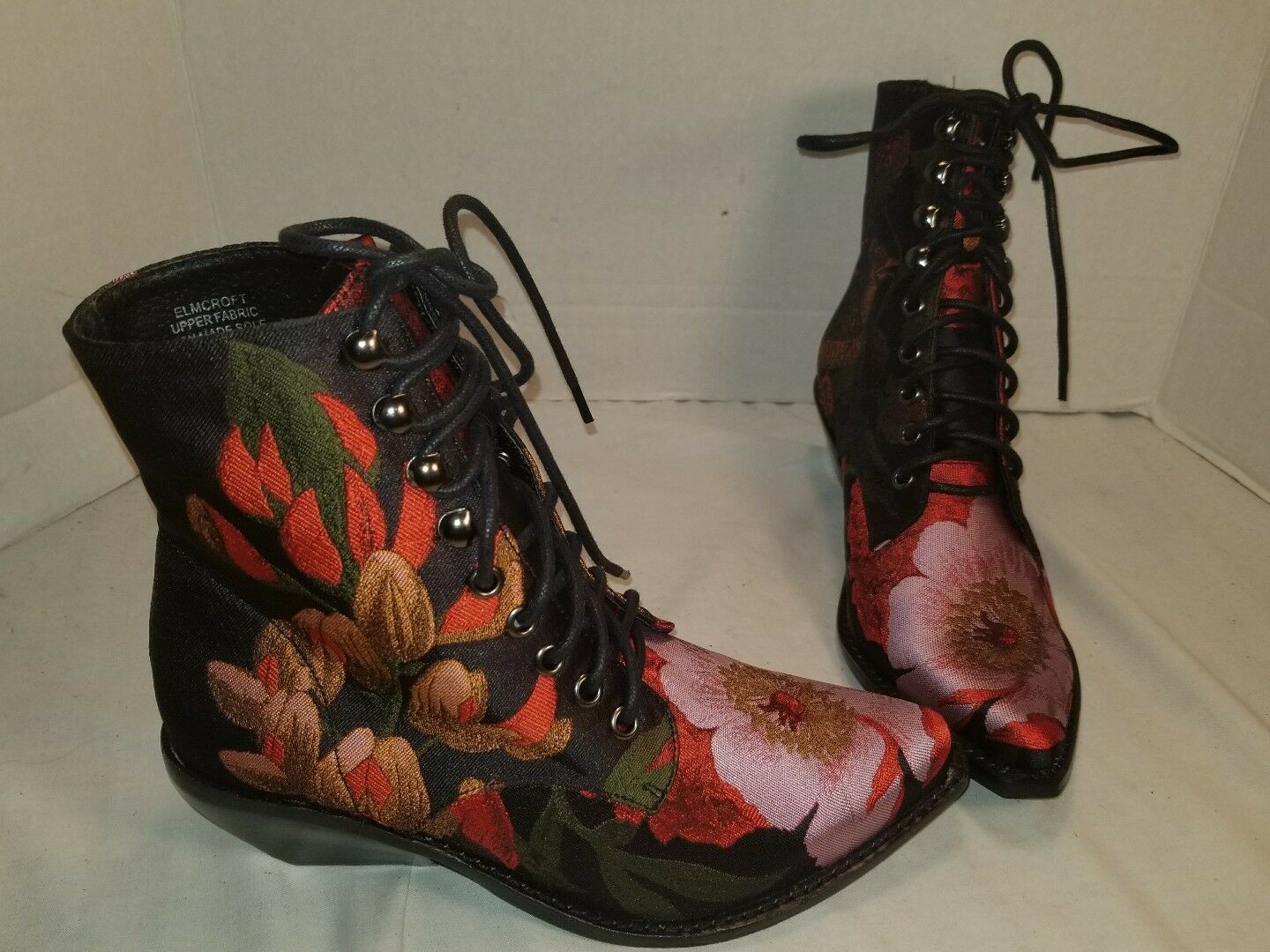 NEW JEFFREY CAMPBELL GROVE ELMCROFT  EMBROIDERED FLORAL LACE UP BOOTS US 7