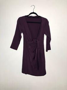 Diane Von Furstenburg Oletta Faux Wrap Dress Plum Purple Women's Size 10