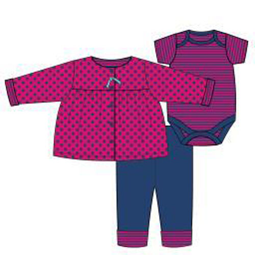 OFFSPRING 100/% COTTON 3 pc Dark Pink /& Navy Jacket and Pant Set SIZE 6 Month NWT