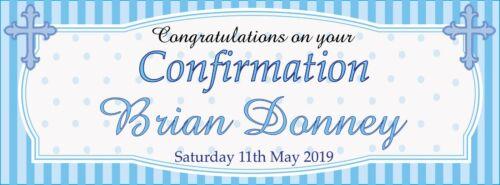 2 Personnalisé Confirmation Bannières-Félicitations-disponibles en rose ou bleu