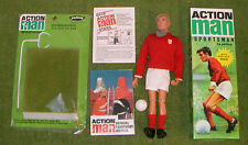 VINTAGE ACTION MAN 40th BOXED SPORTSMAN BLONDE HAIR HARD HANDS & GRASS STAND