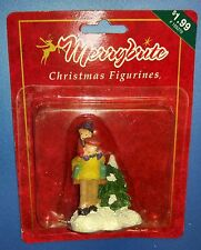 Merrybrite Christmas Village Figurine Man giving Piggy Back Ride with Tree New