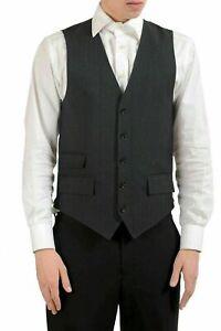 Dolce-amp-Gabbana-Hombre-Rayas-Lana-Gris-con-Botones-Camiseta-Us-XS-It-46