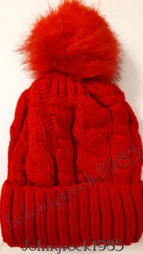 ❆ Damen winter Mütze❆ warme Gefüttert Strick Mütze ☃ Großem Xl Kunst Fellbommel✼
